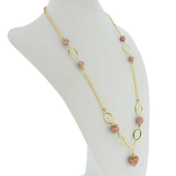 Amore Murano Necklace - Sparkly Rose