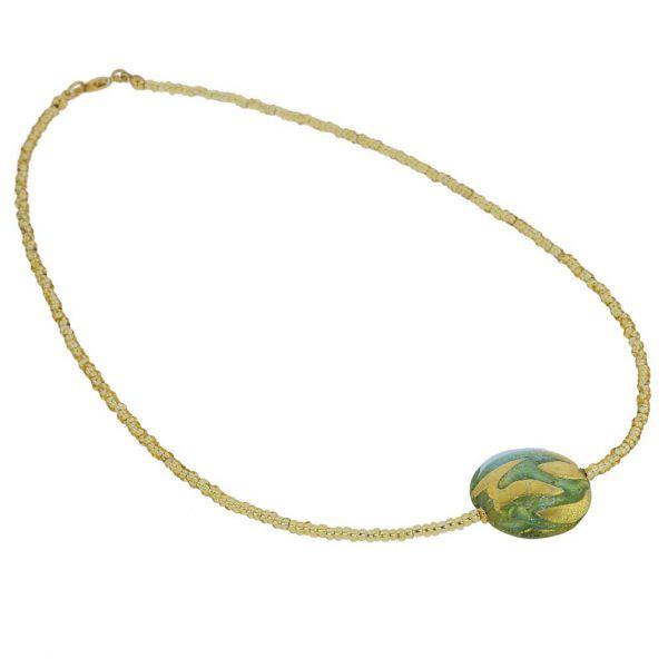 Royal Aquamarine Circle Necklace