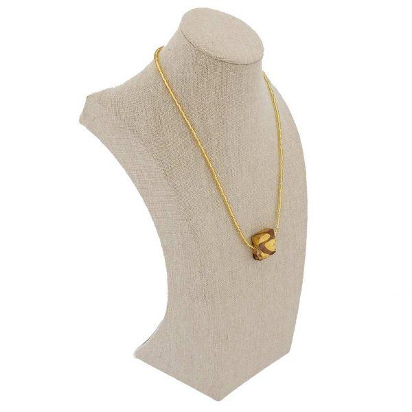Royal Purple Square Necklace - 1 Bead