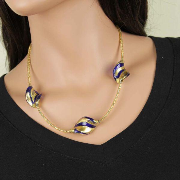 Royal Blue Spirals Necklace