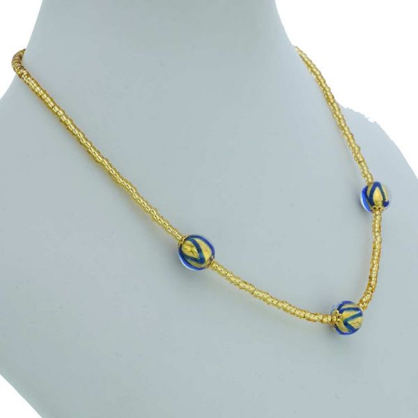 Royal Blue Balls Necklace