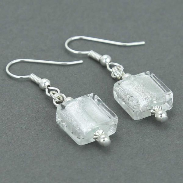 Silver Squares Murano Earrings