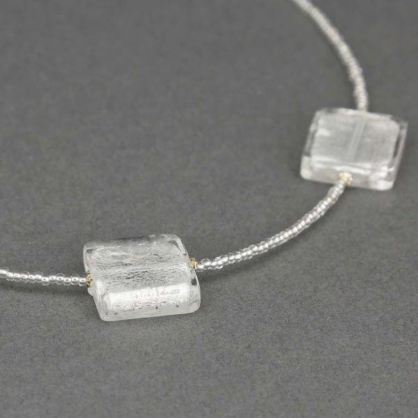 Silver Squares Murano Necklace
