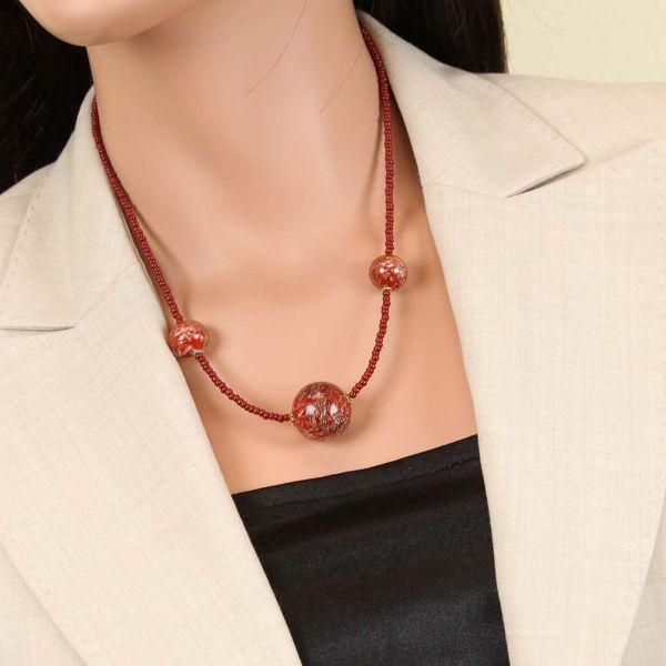 Starlight Balls Necklace - Cranberry