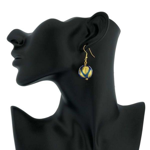 Royal Blue Circle Earrings