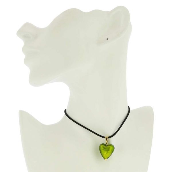 Murano Heart Pendant - Lime Green and Gold