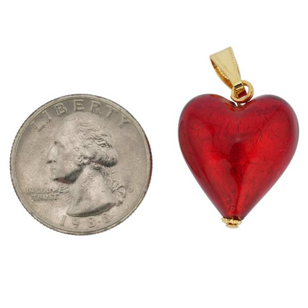 Murano Glass Heart Pendant - Fire Red