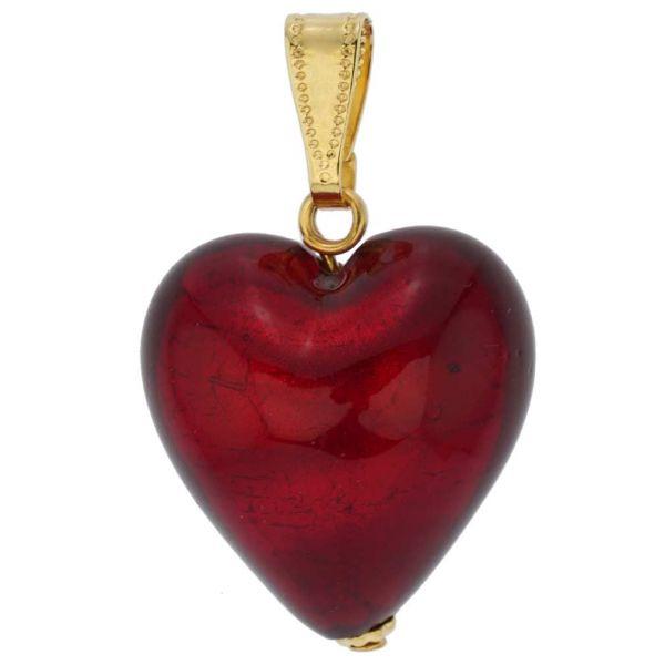 Murano Glass Heart Pendant - Ruby Red