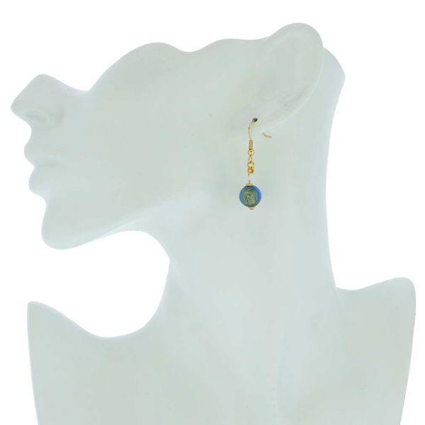 Murano Sparkling Ball Earrings - Royal Blue
