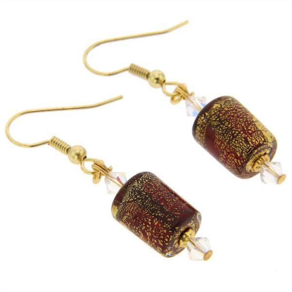 Ca D\'Oro Murano Barrel Earrings - Ruby Red