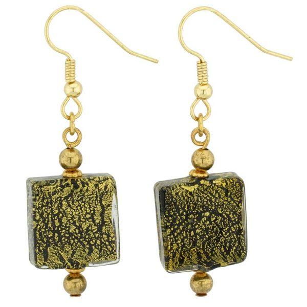 Vivaldi Murano Square Earrings - Black and Gold