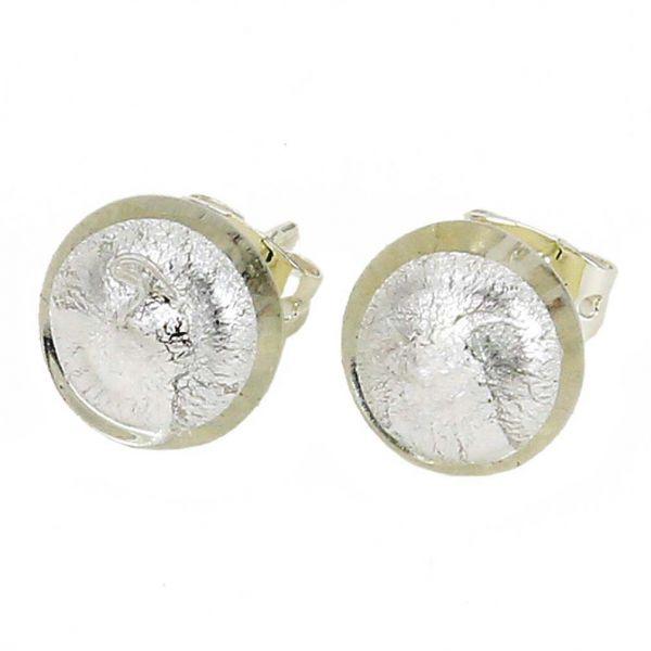 Murano Button Stud Earrings - Silver White