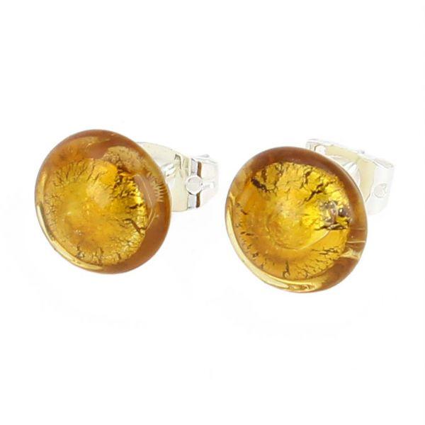 Murano Button Stud Earrings - Topaz Silver