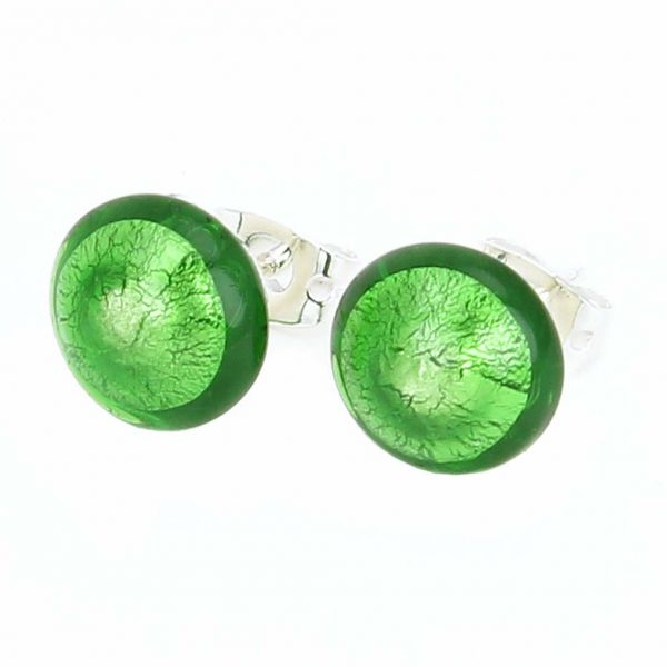 Murano Button Stud Earrings - Emerald Green