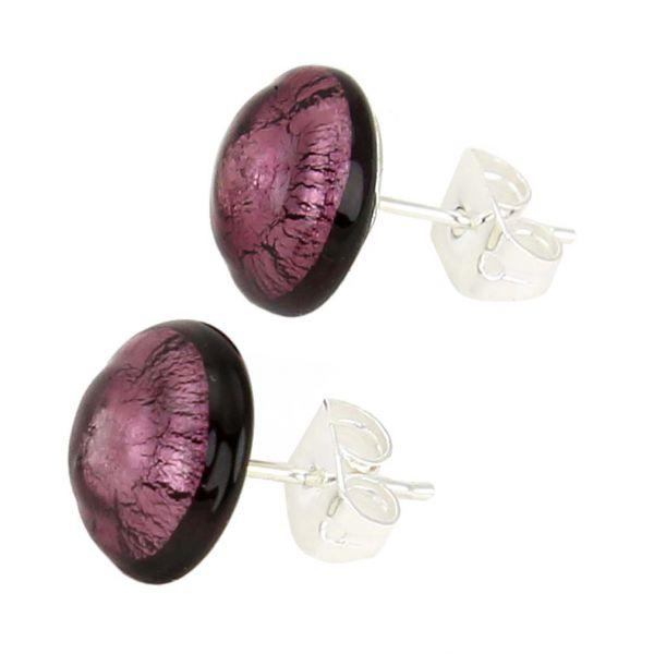 Murano Button Stud Earrings - Purple