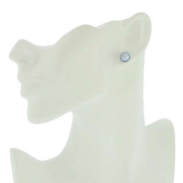 Murano Button Stud Earrings - Silver Ice