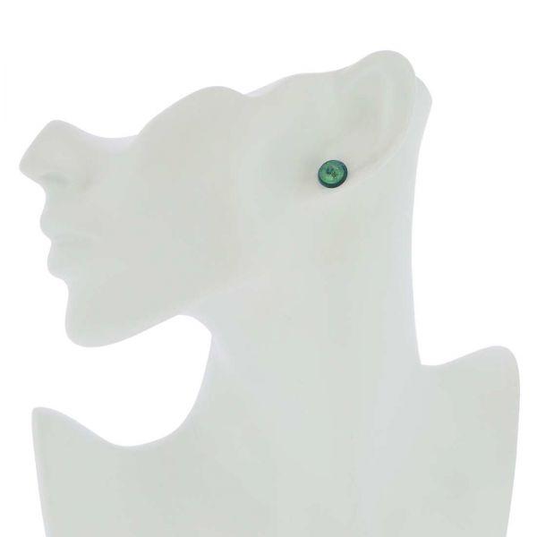Murano Button Stud Earrings - Aqua Gold