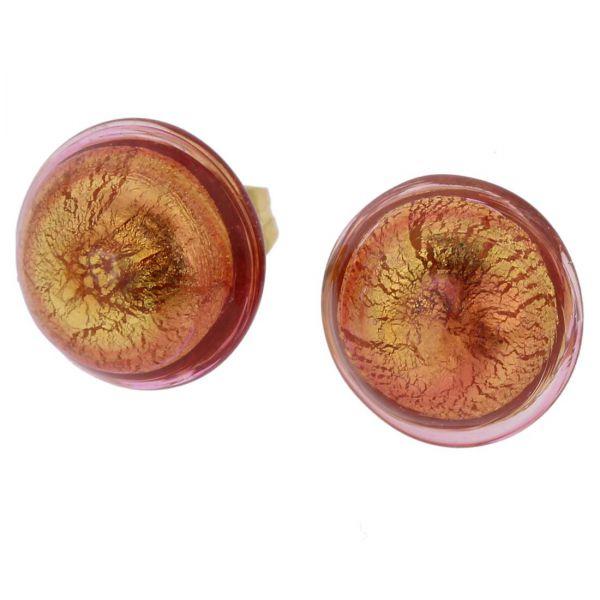 Murano Button Stud Earrings - Purple Gold