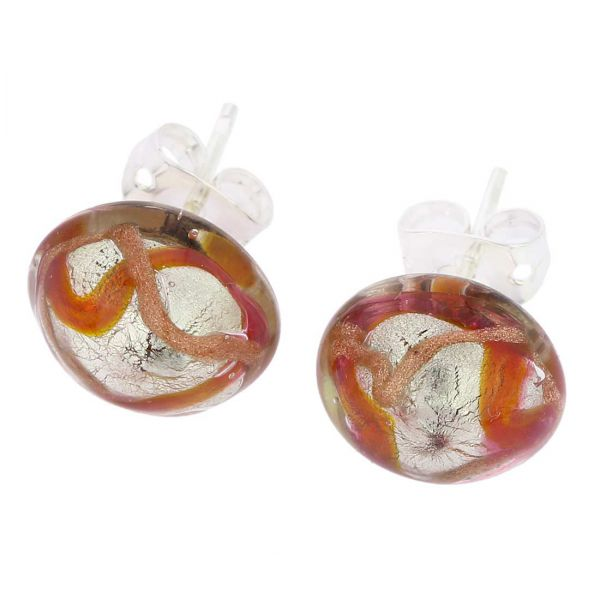Murano Button Stud Earrings - Golden Brown Waves Silver