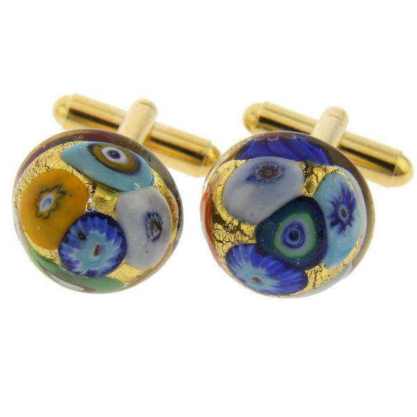 Murano Millefiori Round Cufflinks - Gold Multicolor