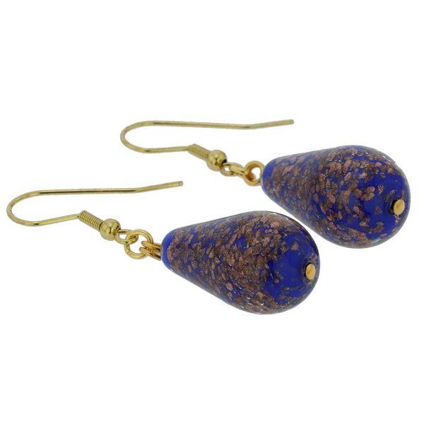 Murano Teardrop Earrings - Navy Blue
