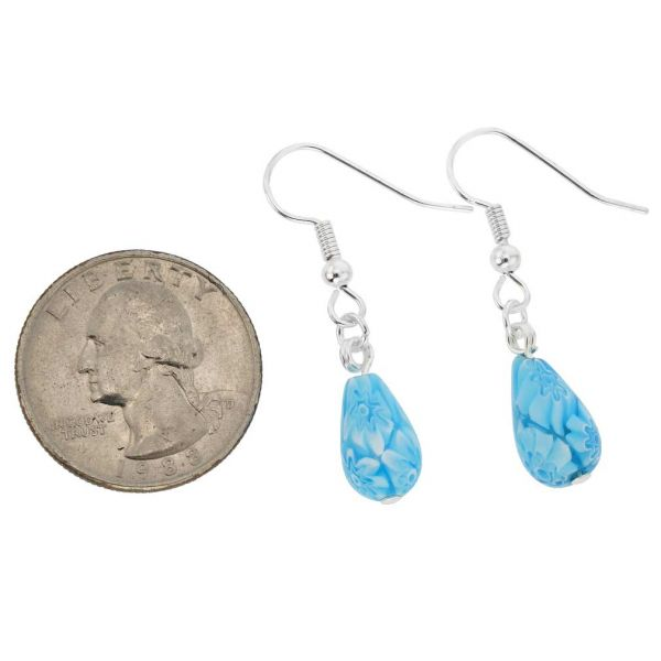 Murano Mosaic Small Millefiori Drop Earrings - Aqua