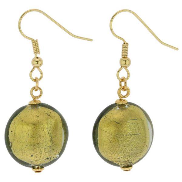 Royal Murano Disk Earrings - Olive Green