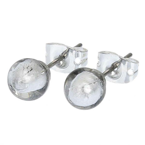 Murano Tiny Stud Earrings - Silver White