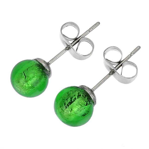 Murano Tiny Stud Earrings - Emerald Green
