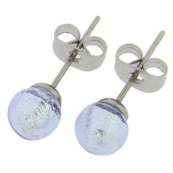 Murano Tiny Stud Earrings - Silver Ice