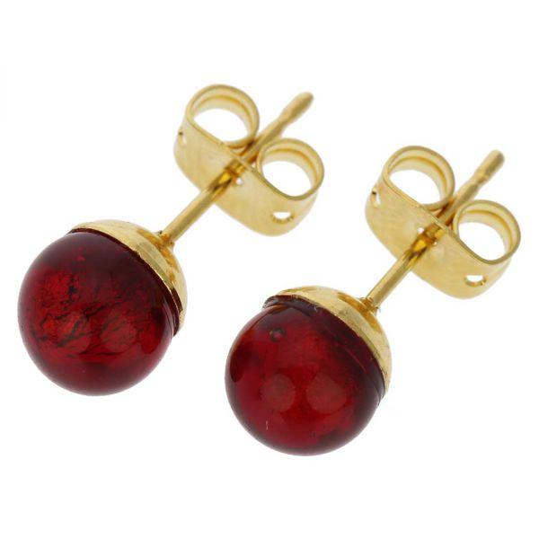 Murano Tiny Stud Earrings - Ruby Red