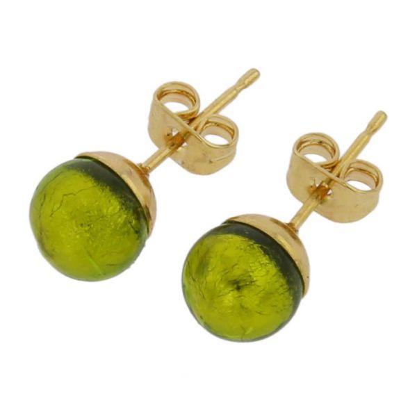 Murano Tiny Stud Earrings - Herb Green