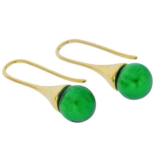 Murano Gold Drop Earrings - Emerald Green