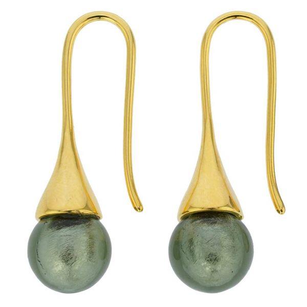 Murano Gold Drop Earrings - Silver Grey
