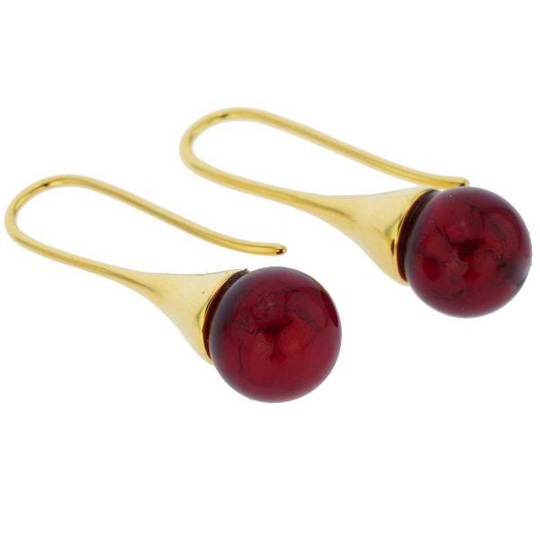 Murano Gold Drop Earrings - Ruby Red