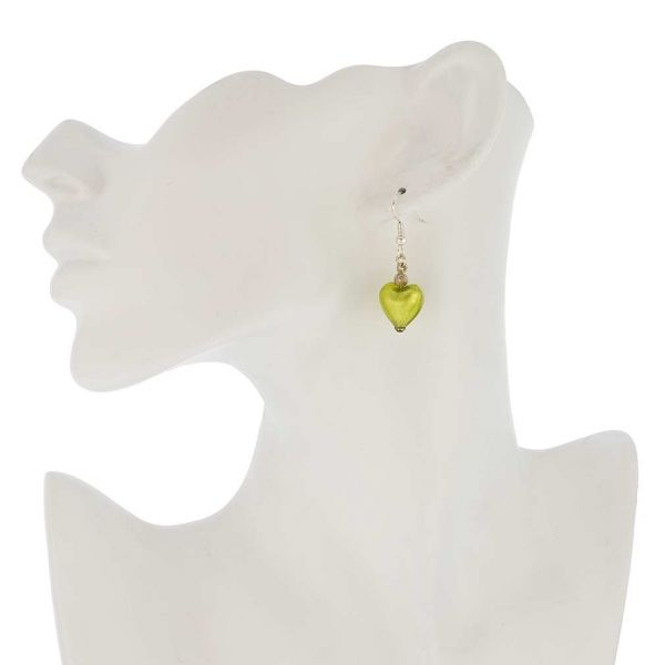 Murano Heart Earrings - Apple Green
