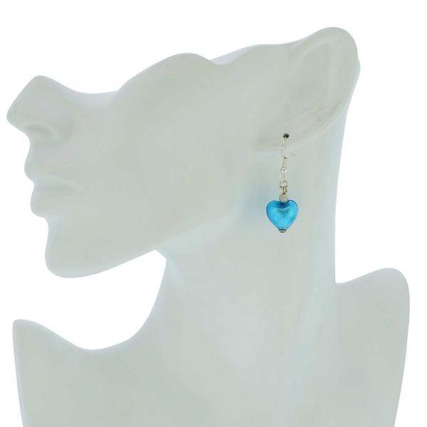 Murano Heart Earrings - Aqua Blue