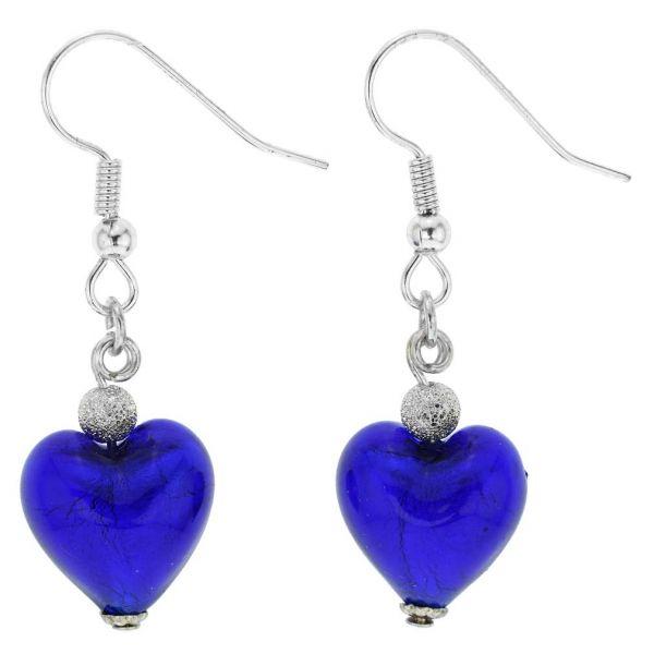 Murano Heart Earrings - Blue