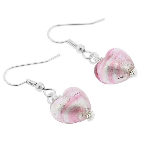 Murano Heart Earrings - Striped Silver Pink