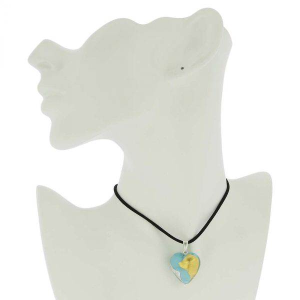 Murano Heart Pendant - Turquoise Gold and Silver