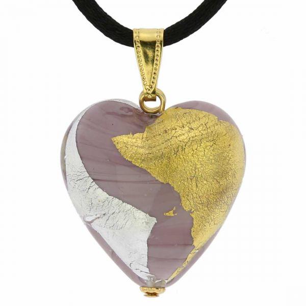 Murano Heart Pendant - Purple Gold and Silver