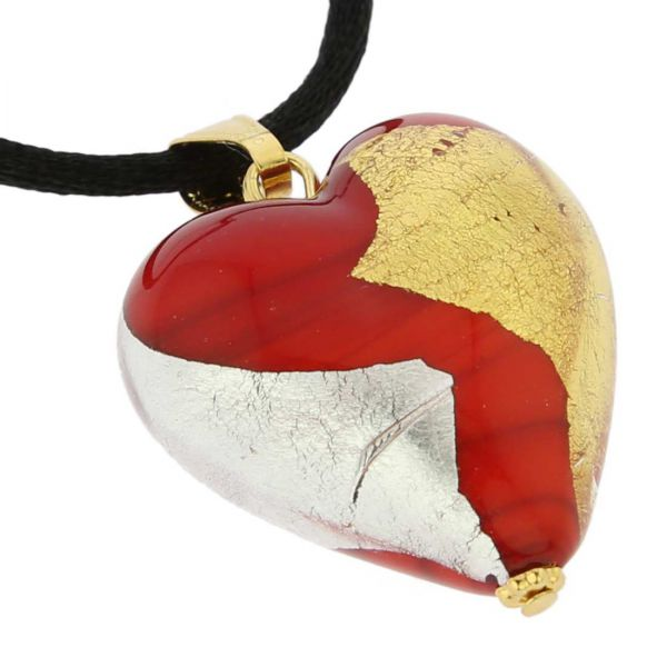 Murano Heart Pendant - Red Gold and Silver