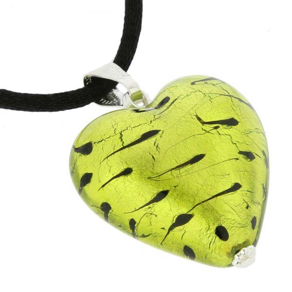Murano Heart Pendant - Spotted Silver Green