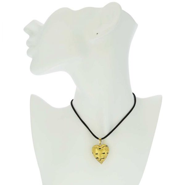 Murano Heart Pendant - Spotted Gold
