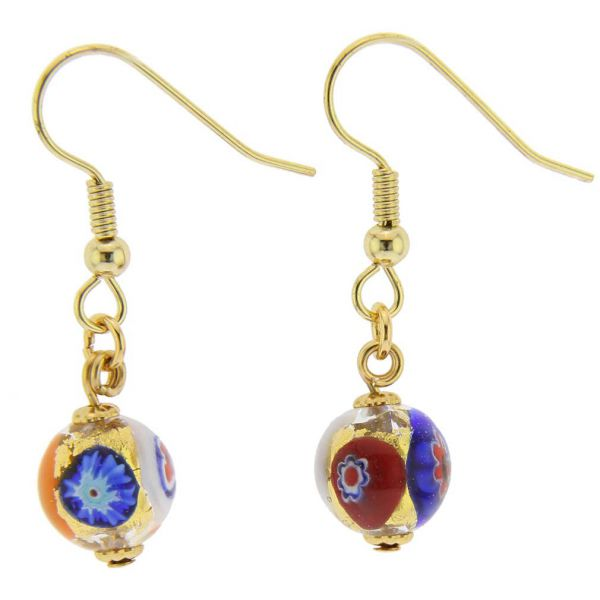 Murano Mosaic Millefiori Ball Earrings - Klimt
