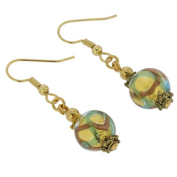 Antico Tesoro Balls Earrings - Gold and Aqua