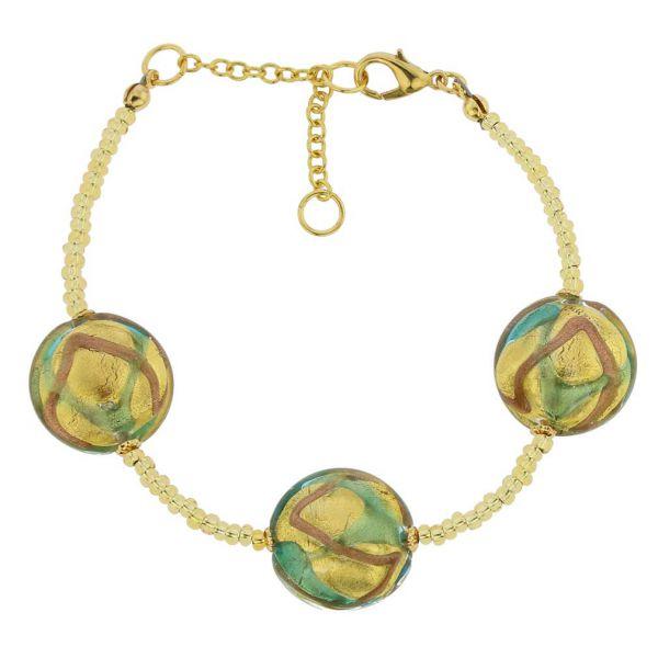 Royal Murano Bracelet - Aqua Waves Gold