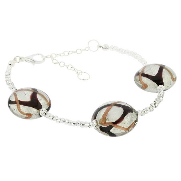 Royal Murano Bracelet - Black Waves Silver