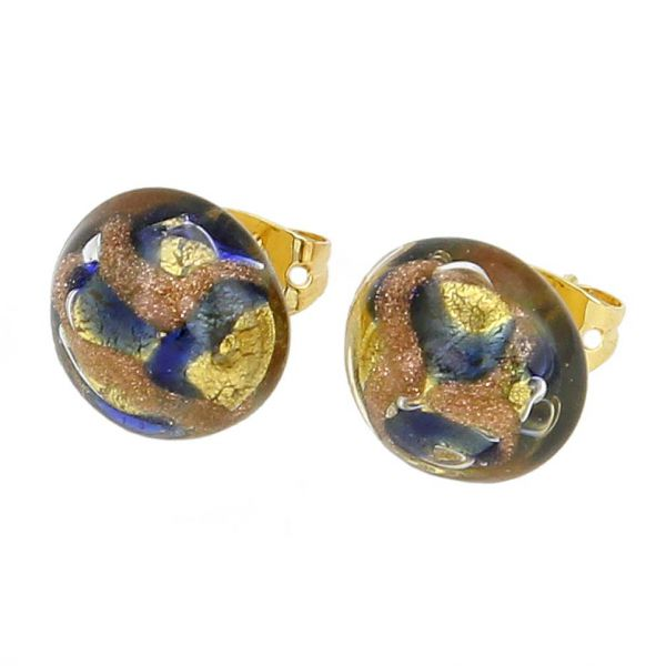 Murano Button Stud Earrings - Gold and Blue