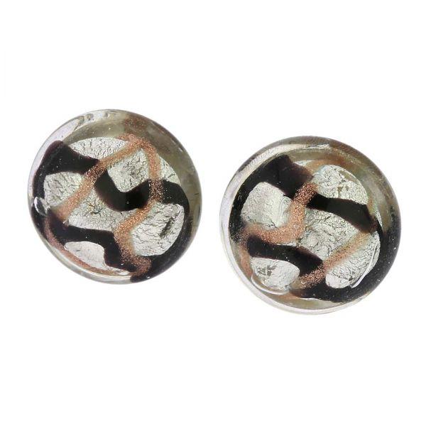Murano Button Stud Earrings - Black Waves Silver